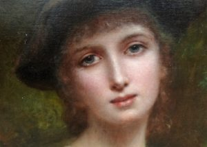 Charles Landelle's Young Girl. Realistic depiction of a beautiful young woman with piercing, yet gentle grey-green eyes.
